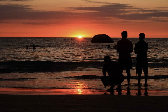 Boys on the Beach at Sunset in India