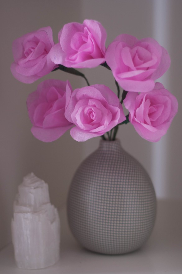 Pink Crepe Paper Flowers